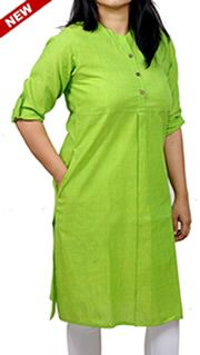 Women Corporate Kurtas, Vibrant Green Roll-Up Sleeves Carved Yoke Corporate Kurta