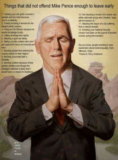 Things That Did Not Offend Mike Pence Enough to Leave Early
