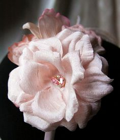 Blush Pink Silk and Crystal Fascinator by wengmengny on Etsy, $75.00