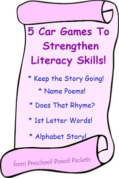 5 Literacy Games for the Car AND LeapFrog's Word Whammer! Click on the picture for more details from Preschool Powol Packets!  #sponsored