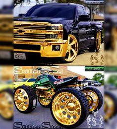 Golden Finish (Illustration)  STIFLER STEEL - GOLDEN CONCEPTS  #StiflerSteel #dropped #bagged #squat  #golden #gold #truck #banshee #chevy