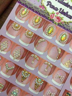 Nail Jewels, Nail Art Rhinestones, Rhinestone Nails, Bling Nails, Gem Nails, Love Nails, Diamond Nail Art, Studded Nails, Silver Nails