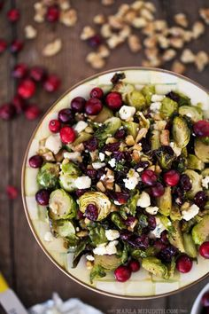 maple roasted brussel sprouts with walnuts, blue cheese, and cranberries 10 Vegetarian Christmas Recipes Even Carnivores Will Love Vegetarian Christmas Recipes, Holiday Recipes, Vegetarian Recipes, Healthy Recipes, Vegetarian Salad, Vegetarian Appetizers, Vegetarian Cooking, Winter Recipes, Vegan Food