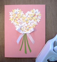 """CONGRATS JENNY!! Best wishes of love and happiness to the newly weds!  For """"something new"""", I broke out my *new* hydrangea punch for this simple card. It uses a silk ribbon and a HA blush notecard.   Congrats and hugs to you Jenny!"""