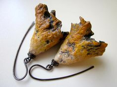 All Empty and All In - primitive organic ragged weathered golden amber brown ivory polymer clay bell pod flower, dark copper earrings by LoveRoot