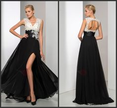 White And Black Evening Dress Appliques Elegant A Line Party Gown Formal Split Evening Dress Long Sleeveless Custom Made Chiffon Cheap Price Womens Clothing Uk Womens Dress From Lovemydress, $125.63| Dhgate.Com