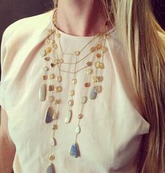 Pippa Small stunning waterfall necklace - WHITE bIRD visits Pippa Small in London