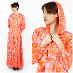 Vintage 60s/70s Pink and Orange Printed Floral Hooded Maxi Robe Beach Coverup by Lilly Pulitzer | Medium
