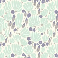 Elizabeth Olwen - Morning Song Voile - Breezy Floral Voile in Turquoise - would be perfect for a summer dress