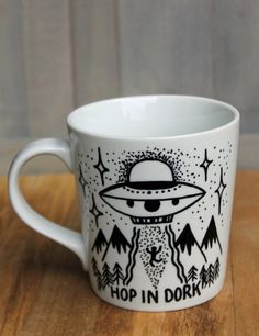 Hand painted alien UFO coffee mug Hop in dork mug by daisyandaster