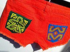 Mola patches on pockets - authentic Kuna mola ethical fashion Nido Mola shorts Coronado, Panama