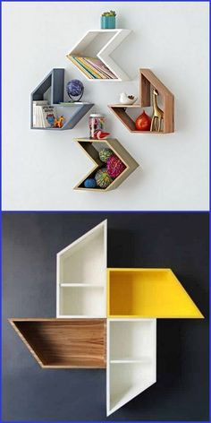 Dekorative Wandregale Decorative wall shelves are the fastest and easiest way to store and decorate items using wall shelves, wire shelves, floating shelves Home Theater Furniture, Bedroom Furniture Design, Home Decor Furniture, Diy Home Decor, Room Decor, Furniture Ideas, Home Decor Shelves, Wall Shelf Decor, Wood Wall Shelf