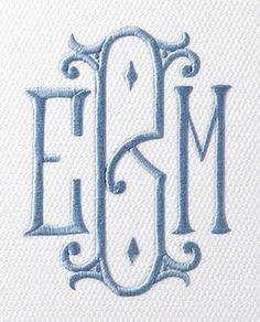Lovely blue monogram on birds eye white PK napkin