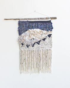 Hello Hydrangea - Neutrals & Navy Triangles Weaving Woven Wall Hanging