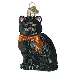Old World Christmas Halloween Kitty Glass Blown Ornament…
