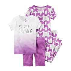 Baby Girl Carter's Butterfly 4-pc. Pajama Set, Size: 12 Months, Ovrfl Oth