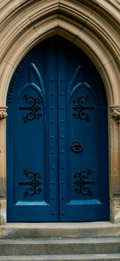 Blue Church door in Sydney, Australia. - photographer Jane Lurie