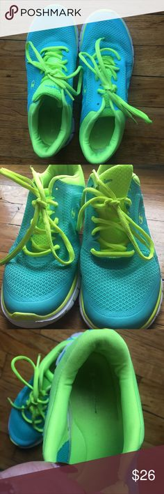 Champion Sneakers - Women's Size US 7.5 Champion Sneakers - Women's Size US 7.5 - Color is a Blue with Neon Green - Excellent used condition - some wear on the inside and bottoms, but outside looks like new! Only worn a couple of times. Super breathable and comfy! Champion Shoes Sneakers