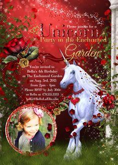 Unicorn Photo Card Invitation Photo Card Unicorn by BellaLuElla
