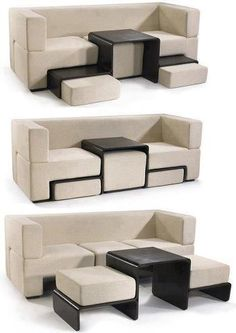 Couch that has pull out foot rests and ottoman.