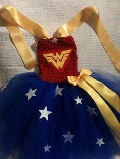 WonderWoman costume tutu dress with wrist cuffs and headband,4 piece set  on Etsy, $27.00