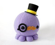 Moustache Octopus Plush w/ Top Hat and Monocle  por cheekandstitch
