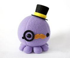 Moustache Octopus Plush w/ Top Hat and Monocle  by cheekandstitch, $17.50