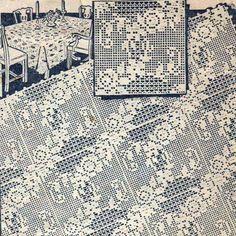 Filet Crochet Motif Square Flower Floral Pattern for Beds...