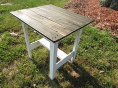 Country Cottage Rustic Table, Dark Wood Top with White Distressed Legs, French Vintage, Shabby Chic, on Etsy, $79.00