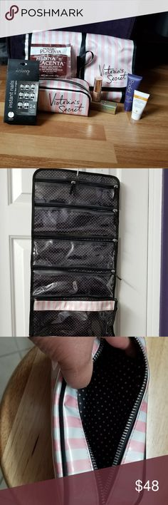 Victoria's Secret Bag Set w/ Beauty Bundle! This amazing bundle includes 7 items to help complete your beauty collection! Bags are pre-loved but in excellent condition. All beauty products are brand new and never used. Bundle includes:  - VS hanging makeup/toiletry organizing bag with removable pouch - VS small makeup/toiletry bag - Jose Maran Enlightening Illuminizer - Rodial stem cell cleansing cream - Ren radiance renewal mask - Icing b&w press on nails - Hask Henna hair mask Victoria's…