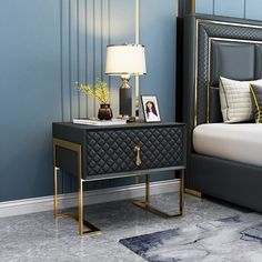 Modern Stylish Nightstand Upholstered Bedside Table with Drawer Gold Metal Base Nightstand in Muitiple Colors - Nightstands - Bedroom Furniture - Furniture Furniture, Modern Furniture, Bedroom Bed Design, Side Table Design, Bedroom Design, Side Tables Bedroom, Luxurious Bedrooms, Home Furnishings, Bedside Table Decor