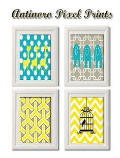 Vintage / Modern Inspired Baby Nursery Prints Collection -Set of 4 - 8x11 Prints -Turquoise Yellow Grey White (UNFRAMED). $45.00, via Etsy.