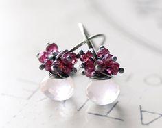 Pink Gemstone Earrings Rose Quartz Sterling by FirebirdJewellery