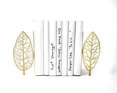 Bookends golden edition  Magritte trees  FREE SHIPPING stylish functional and sturdy metal decor to hold your books