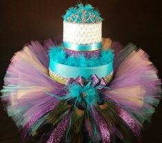 2 Tier Teal Purple & Gold DIAPER CAKE w/ by TiersofJoybyUs on Etsy