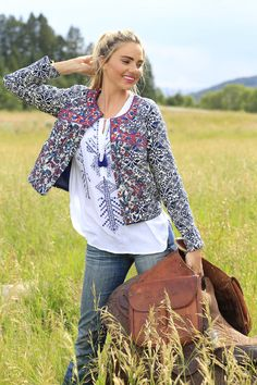 Maggie jacket blue from the Fall Collection by Shabby Apple