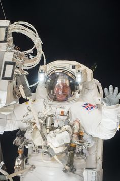 UK Astronaut Tim Peake's Exhilarating Spacewalk: View 2   NASA ESA (European Space Agency) astronaut Tim Peake seen during his first spacewalk. Peake and NASA astronaut Tim Kopra conducted a spacewalk on Jan. 15, 2016 and successfully replaced a failed voltage regulator that caused a loss of power to one of the station's eight power channels in Nov. 2015. The pair ended its spacewalk early after Kopra reported a small water bubble had formed inside his helmet.