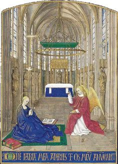 The Annunciation ~ 1445 ~ Jean Fouquet (France, 1420-1481) ~ Jean Fouquet was a preeminent French painter of the 15th century, a master of both panel painting and manuscript illumination, and the apparent inventor of the portrait miniature.