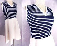 Vintage 60s Carlye Dress Sz L Nautical Stripe Rockabilly Midi Sleeveless Scooter
