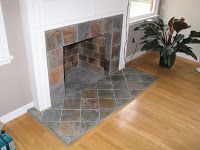 slate tile fireplace surround. SLATE TILE FIREPLACE FASCIA AND HEARTH fireplace surround minus the butt  living room Pinterest