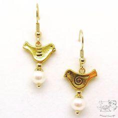 🍀🐦Bird Earrings🐦🍀 #marcelsonnegajewelry #marcel #birds #pearlearrings #pearl #instajewels #instajewelry #oorhangers #vogel # sieraden #jewelrygram