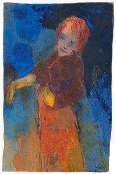 Emil Nolde ~ Frau vor blauem Grund, 1939-45