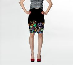 Bohemian Evening Pencil Skirt by AtelierBaba. Knit fabric fitted skirt falls above the knee. Made to last, this fabric won't lose its shape and vibrant boho floral print never fades. Lovely.