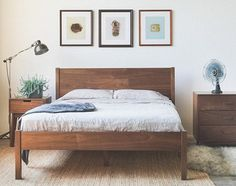 DIY Bed Frames - Solid Wood Berkeley Bed Frame and Headboard - Available in other woods Bed Frame And Headboard, Diy Bed Frame, Solid Wood Bed Frame, Solid Wood Platform Bed, Simple Wood Bed Frame, Cheap Wooden Bed Frames, Headboard Ideas, Platform Bed Frame, Wood Bedroom
