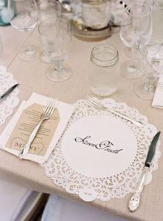 Genius name cards for this Lake Tahoe wedding: beautiful calligraphy on paper doilies! :: Great idea for when using clear glass plates and entertaining~ Wedding Blog, Wedding Events, Wedding Reception, Our Wedding, Dream Wedding, Wedding Ideas, Trendy Wedding, Wedding Shoes, Reception Ideas