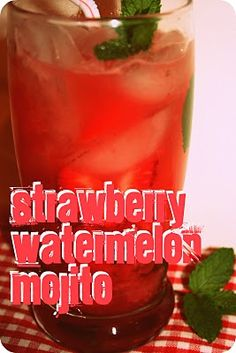 Strawberry Watermelon Mojitos - Take lime and mint, the classics of the mojito and combine them with strawberry and watermelon for a cooling summer beverage.