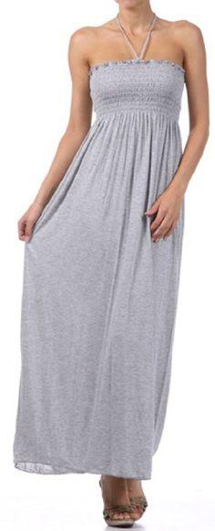 Amazon.com: Sakkas Comfortable Jersey Feel Solid Color Smocked Bodice String Halter Maxi / Long Dress: Clothing $23