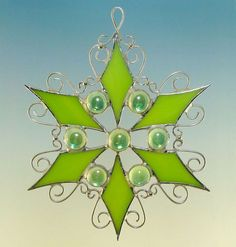 Peridot Lime Green Jeweled Stained Glass Filigree Snowflake