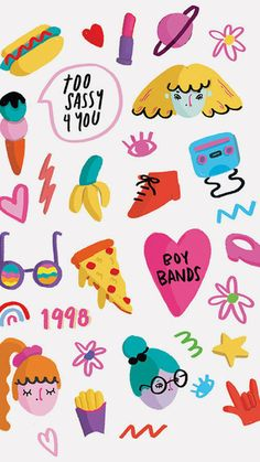 Sticker Set via Etsy Set of 15 water transfer stickers for Nail Art Decoration Cartoon Stickers, Cute Stickers, Cute Doodles, Cute Friends, Planner, Cute Illustration, Sticker Design, Cute Drawings, Doodle Art