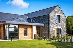 New Build In County Armagh Farmhouse Architecture, Modern Farmhouse Exterior, Bungalow Exterior, Bungalow Renovation, Architecture Design, Bungalow House Design, Modern Bungalow, Bungalow Ideas, House Designs Ireland
